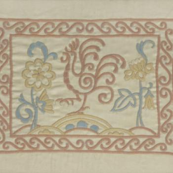 Design of cockerel with flowers and border